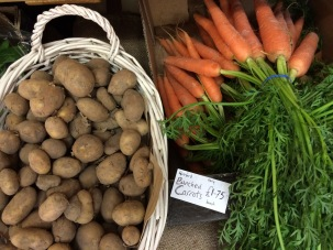 New potatoes and bunched carrots